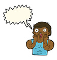cartoon shocked gym man with speech bubble vector image