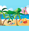children napping and playing on the beach vector image vector image