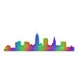 Cleveland skyline silhouette - multicolor line art vector image vector image