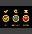 collection isolated golden buttons and vector image