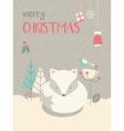 Cute Arctic Christmas sleepy baby fox vector image vector image