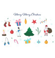 cute colorful doodle christmas elements set vector image