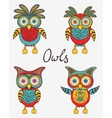 Cute colorful owls set vector image vector image