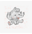 cute elephant seating hand drawn vector image vector image
