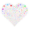 decoration stars fireworks heart vector image vector image