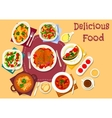 Dinner meal top view icon for food theme design vector image vector image
