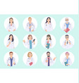 doctors male and female avatar set vector image vector image