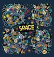 Doodles cartoon set space designs
