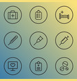 drug icons line style set with questionnaire vector image