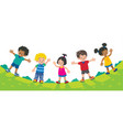 five kids set with background summer vector image