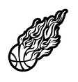 flame fire ball black basketball symbol icon vector image vector image