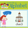 Flashcard letter C is for church vector image vector image