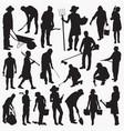 gardener silhouettes vector image vector image