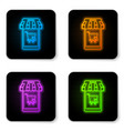 glowing neon mobile phone and shopping cart with vector image vector image