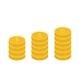 gold coin stacks icon in shape diagram dollar vector image vector image