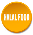 halal food orange round flat isolated push button vector image vector image