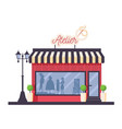 isolated atelier store front in red and blue vector image