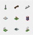 isometric city set of dc memorial bench highway vector image vector image