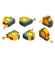 isometric set icons tape measure isolated on vector image vector image