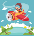 kid operating plane vector image