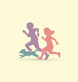 little boy and girl running together with dog vector image vector image