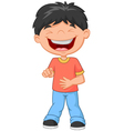 Little boy laughing and pointing vector image vector image