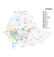 map coffee growing regions ethiopia vector image vector image