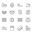 mattress features thin line icons set isolated vector image vector image