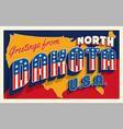 north dakota 4th july retro postcard vector image vector image