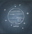 planet jupiter icon on chalkboard vector image vector image