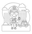 policeman coloring page vector image vector image