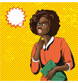 pop art of african woman with vector image
