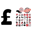 Pound Sterling Flat Icon with Bonus vector image vector image
