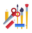 school supplies collection ruler brush scissors vector image vector image