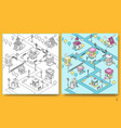 seamless pattern with isometric buildings vector image vector image