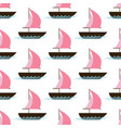 ship on waves seamless pattern vector image vector image