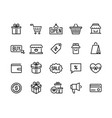 shopping line icons online store and e-commerce vector image