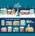 snowy night in cozy christmas town city panorama vector image vector image