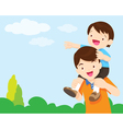Son Sit On Dad Shoulder look sky vector image vector image