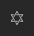 Star of David monogram logo hexagram of thin line vector image