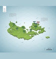 stylized map denmark isometric 3d green map vector image