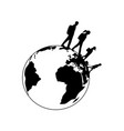 traveling family silhouettes spinning planet earth vector image vector image