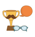trophy with moustache vector image vector image