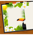 Wooden Table With Tropical Dairy vector image vector image