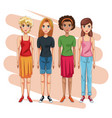 young beautiful women vector image