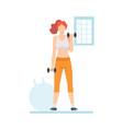 young woman lifting dumbbells girl doing fitness vector image