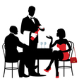 People sitting at the table of the restaurant vector image