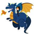 hunter riding on blue dragon vector image