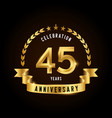 45 years anniversary celebration logotype golden vector image vector image