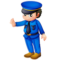 A police officer with a complete blue inform vector image